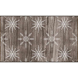 Mohawk Prismatic Barnwood Snowflakes Printed Accent Rug in Brown