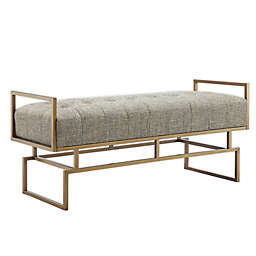 Madison Park Rickard Accent Bench in Grey/Antique Gold
