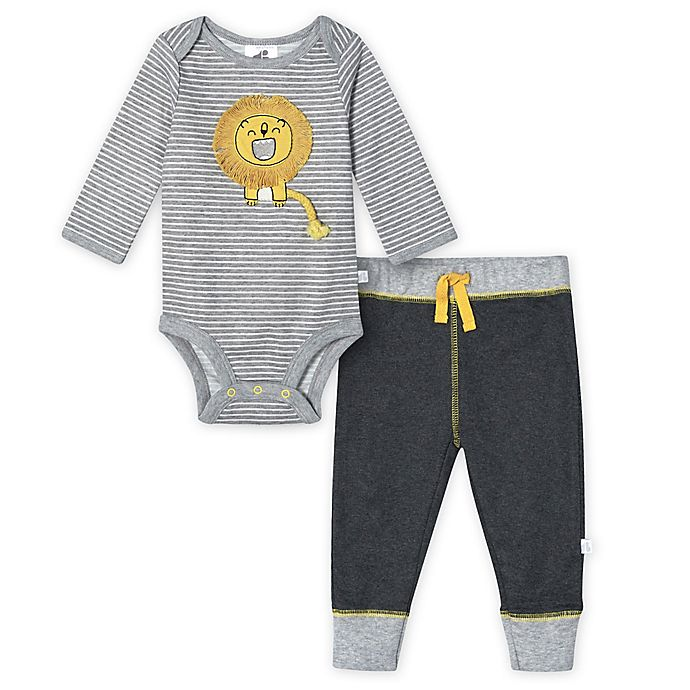 Alternate image 1 for Just Born® 2-Piece Lion Organic Cotton Bodysuit and Pant Set in Grey