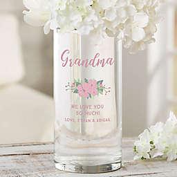 "Pink Floral Personalized 7.5"" Cylinder Vase for Grandma"