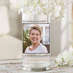 """Picture Perfect Personalized 7.5"""" Memorial Photo Vase"""