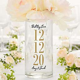 "The Big Day Personalized 7.5"" Cylinder Wedding Vase"