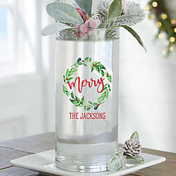 """Watercolor Wreath Personalized 7.5"""" Glass Christmas Vase"""