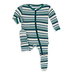 KicKee Pants® Agric Stripe Footie Pajama in Blue