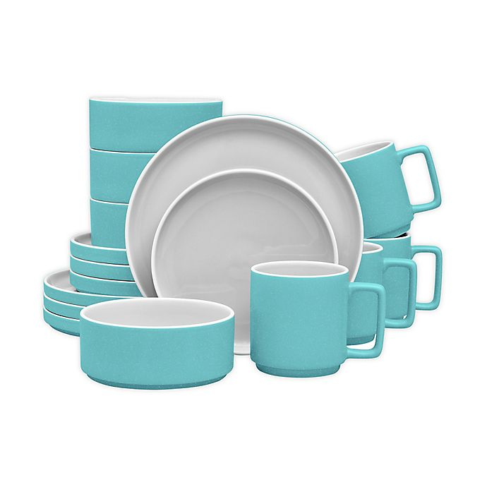 Alternate image 1 for Noritake® ColorTrio Stax 16-Piece Dinnerware Set in Turquoise/Grey