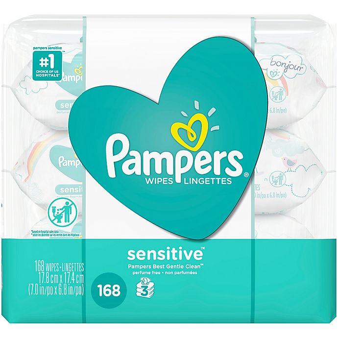 Alternate image 1 for Pampers® 168-Count Sensitive Baby Wipes 3x Travel Pack