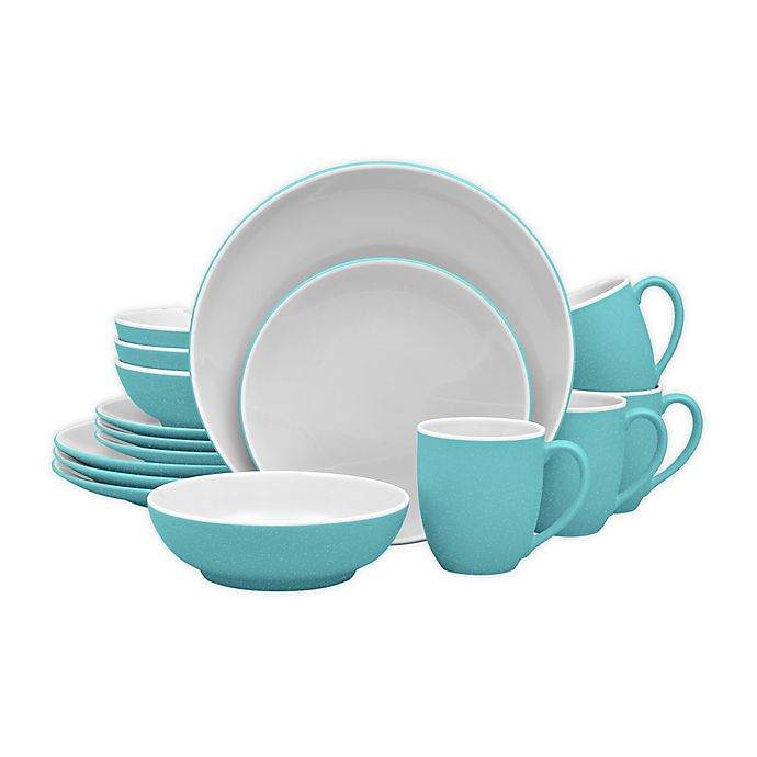 Alternate image 1 for Noritake® ColorTrio Coupe 16-Piece Dinnerware Set in Turquoise