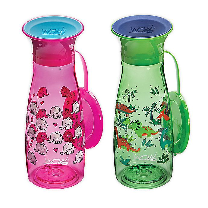 Alternate image 1 for Wow Cup® 2-Pack 12 oz. Sippy Cups with Travel Lids