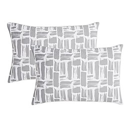 SALT™ Brush Stroke Truly Soft Microfiber Standard Pillowcases in Grey (Set of 2)