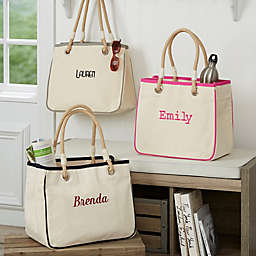 Embroidered Canvas Rope Tote