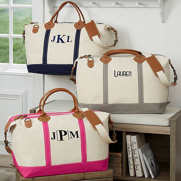 Alternate image 1 for Lux Weekender Embroidered Canvas Duffel Bag