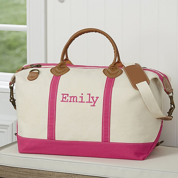 Alternate image 1 for Lux Weekender Embroidered Canvas Duffel Bag in Pink