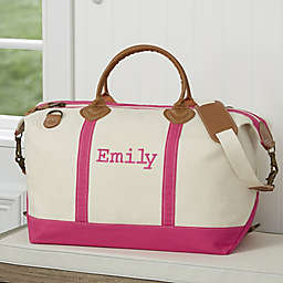 Lux Weekender Embroidered Canvas Duffel Bag in Pink
