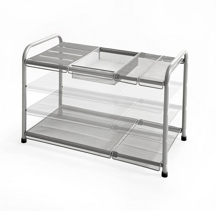 Alternate image 1 for ORG™ 2-Tier Mesh Expandable Under-Sink Shelf in Silver