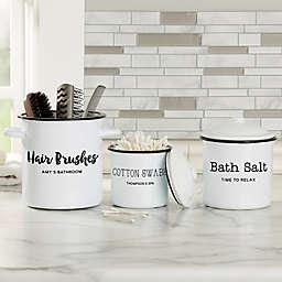 Bathroom Text Personalized Enamel Jar Collection