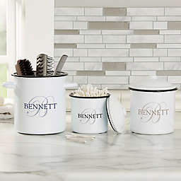 The Heart of Our Home Personalized Bathroom Enamel Jar Collection