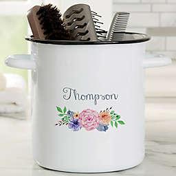 Floral Wreath Personalized Bathroom Enamel Jar - 72 oz. Accessory Holder