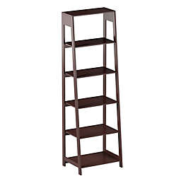 Hastings Home 5-Tier Freestanding Bookcase in Dark Brown