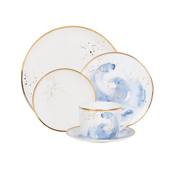 Alternate image 1 for Olivia & Oliver™ Harper Splatter Gold Dinnerware Collection in Blue