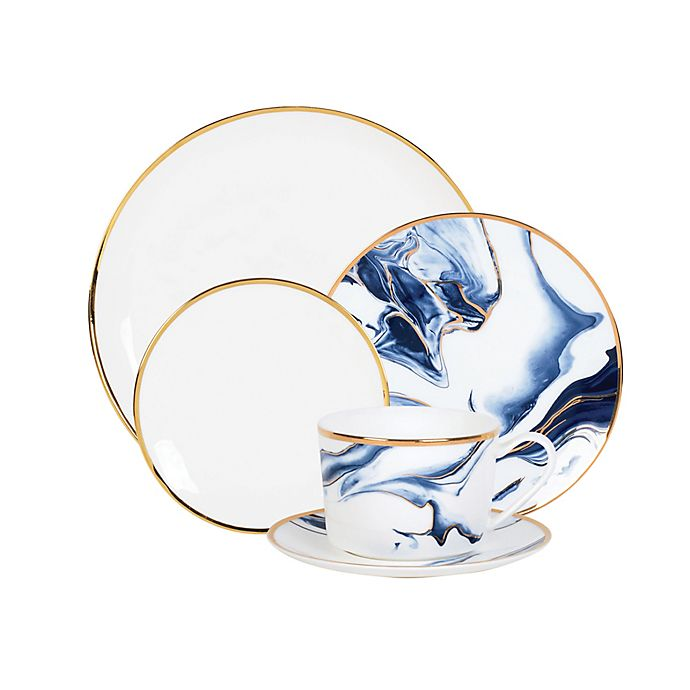 Alternate image 1 for Olivia & Oliver™ Harper Marble Gold Dinnerware Collection in Blue
