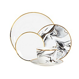 Olivia & Oliver™ Harper Marble Gold Dinnerware Collection in Grey