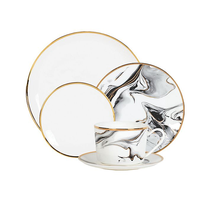 Alternate image 1 for Olivia & Oliver™ Harper Marble Gold Dinnerware Collection in Grey