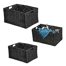 Honey-Can-Do Rectangle Nesting Maize Baskets in Black (Set of 3)