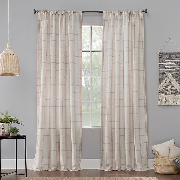 Alternate image 1 for No.918® Castille Farmhouse Plaid Linen Semi-Sheer Rod Pocket Curtain Panel (Single)