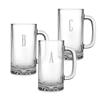 Susquehanna Glass Monogrammed Block Letter Beer Mugs (Set of 4)