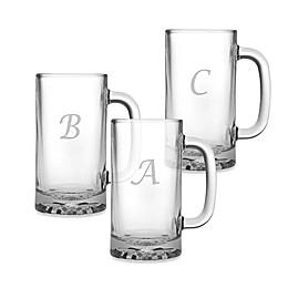 Susquehanna Glass Monogrammed Script Letter Beer Mugs (Set of 4)