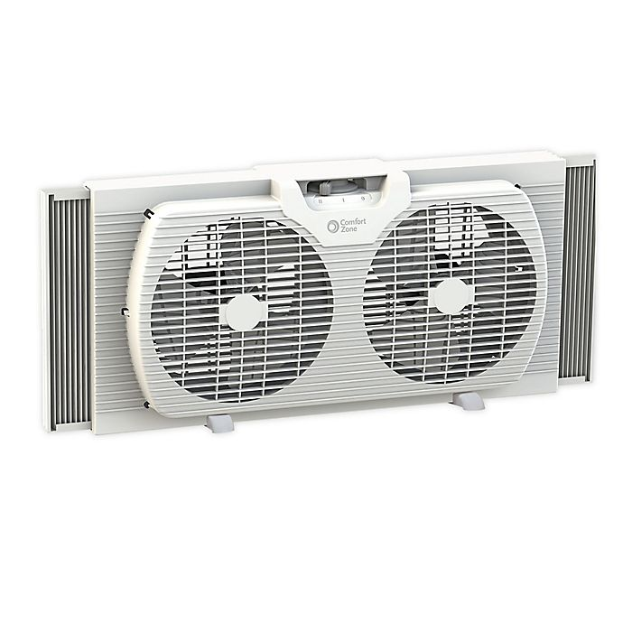 Alternate image 1 for Comfort Zone® 2-Speed Portable Twin Window Fan in White