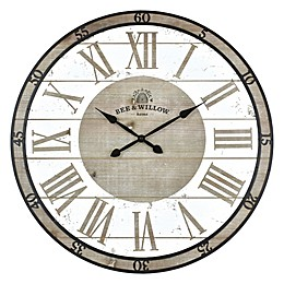 Bee & Willow™ Home 29-Inch Round Wall Clock in Rustic Grey/White