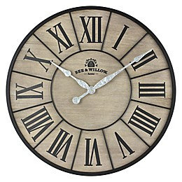 Bee & Willow™ Home 26-Inch Round Wall Clock in Rustic Grey/Black