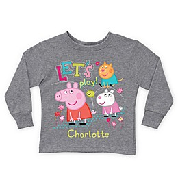 "Peppa Pig ""Let's Play!"" Long Sleeve T-Shirt in Grey"