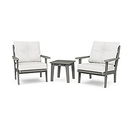 POLYWOOD® Lakeside 3-Piece Deep Seating Patio Chair Set in Slate Grey