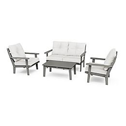 POLYWOOD® Lakeside 4-Piece Deep Seating Patio Furniture Set in Slate Grey