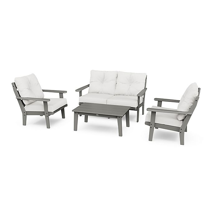 Alternate image 1 for POLYWOOD® Lakeside 4-Piece Deep Seating Patio Furniture Set in Slate Grey