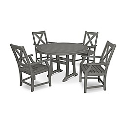 POLYWOOD® Braxton 5-Piece Nautical Trestle Arm Chair Outdoor Dining Set