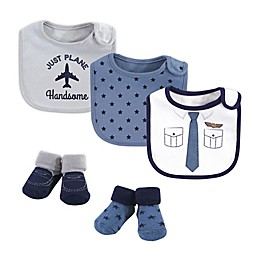 Little Treasure 5-Piece Pilot Bib and Sock Set in Blue/White