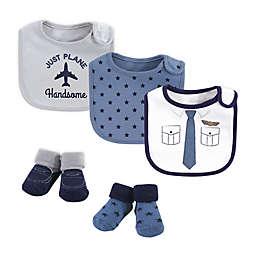 Little Treasure 5-Piece Pilot Bib and Sock Set in Blue/White