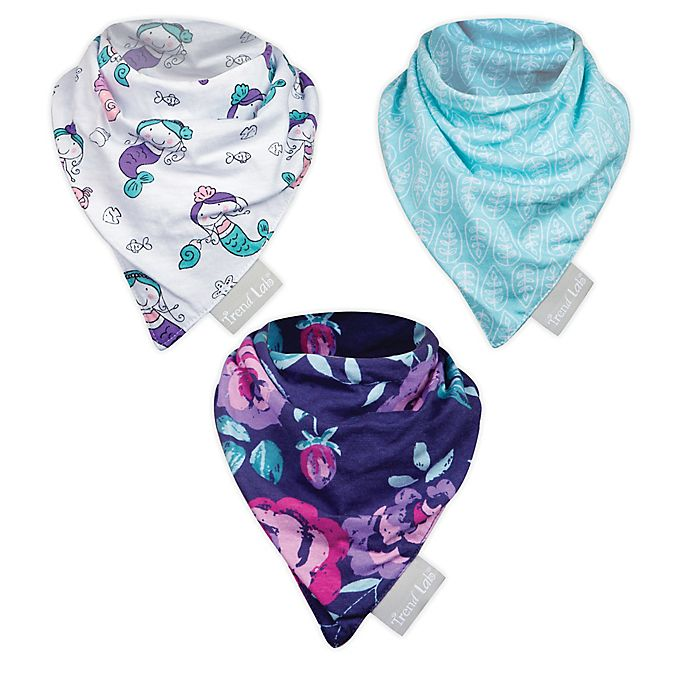 Alternate image 1 for Trend Lab® 3-Pack Mermaids Bandana Bibs