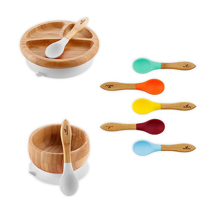 Alternate image 1 for Avanchy™ Rainbow 9-Piece Bamboo and Silicone Dinnerware Set
