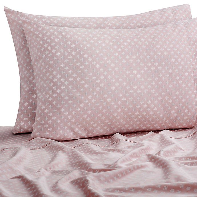 Alternate image 1 for SALT™ Double Dash 300-Thread-Count Standard/Queen Pillowcases in Peach (Set of 2)