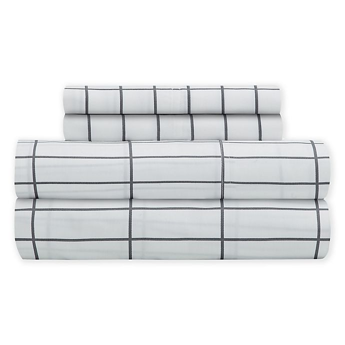 Alternate image 1 for SALT™ Elongated Plaid 300-Thread-Count Twin XL Sheet Set
