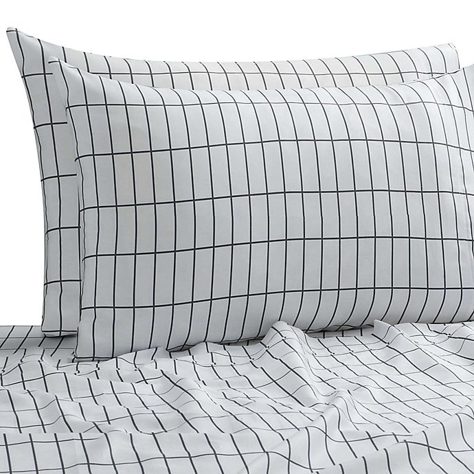 Alternate image 1 for SALT™ Elongated Plaid 300-Thread-Count Full/Full XL Sheet Set in White/Multi