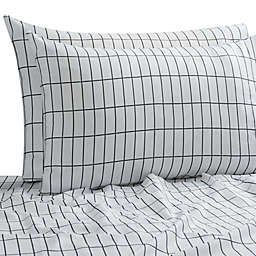 SALT™ Elongated Plaid 300-Thread-Count Full/Full XL Sheet Set in White/Multi