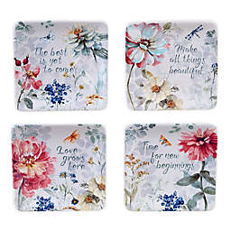 Certified International Spring Bouquet Square Appetizer Plates (Set of 4)