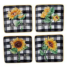 Certified International Sunflower Fields Appetizer Plates (Set of 4)
