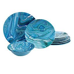 Certified International Fluidity Coastal 12-Piece Melamine Dinnerware Set