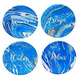Certified International Fluidity Coastal Sentiment Appetizer Plates (Set of 4)